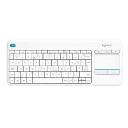 Logitech K400 Plus Wireless Touch Keyboard for Windows, Android and Chrome - QWERTY, UK Layout, White