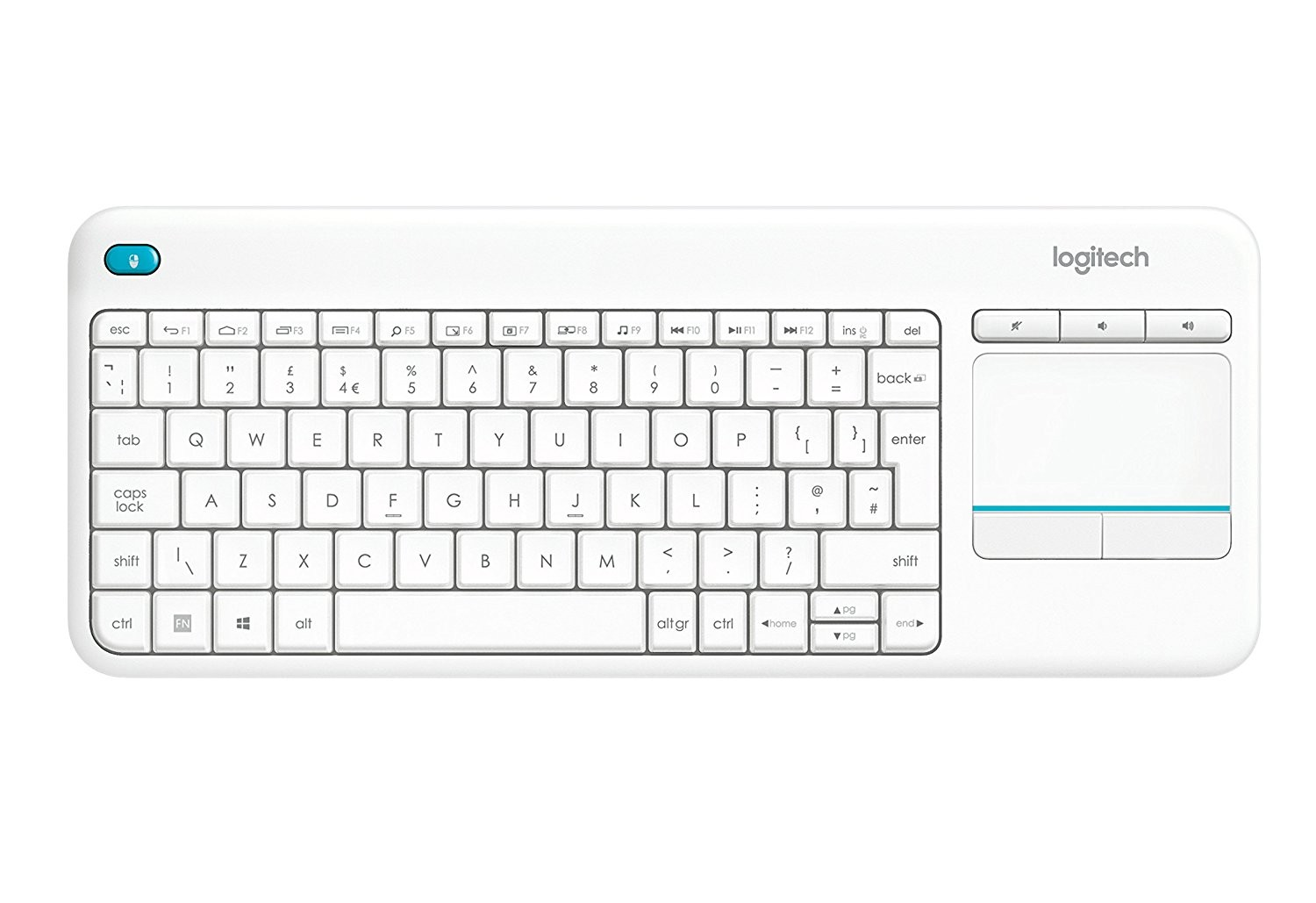 749f3eacc5b Logitech K400 Plus Wireless Touch Keyboard for Windows, Android and Chrome  - QWERTY, UK Layout, White