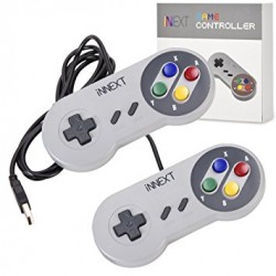 iNNEXT 2x Classic USB Gamepad Retro SNES USB Controller (Multi-Colored)
